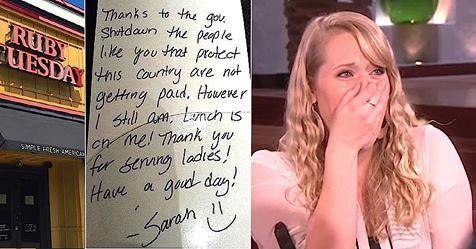 Официантка сама оплатила счет солдат, а когда Эллен встала, чтобы похвалить ее…