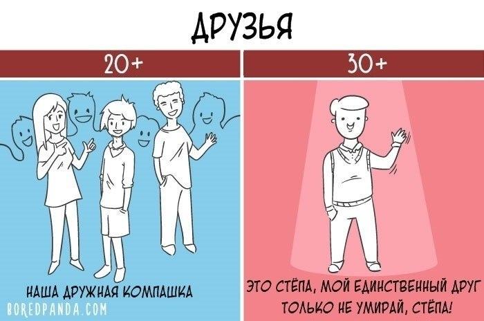 20 смешных картинок о том, в чем разница между 20 и 30-летними